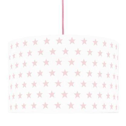 biała lampa wisząca w różowe gwiazdki