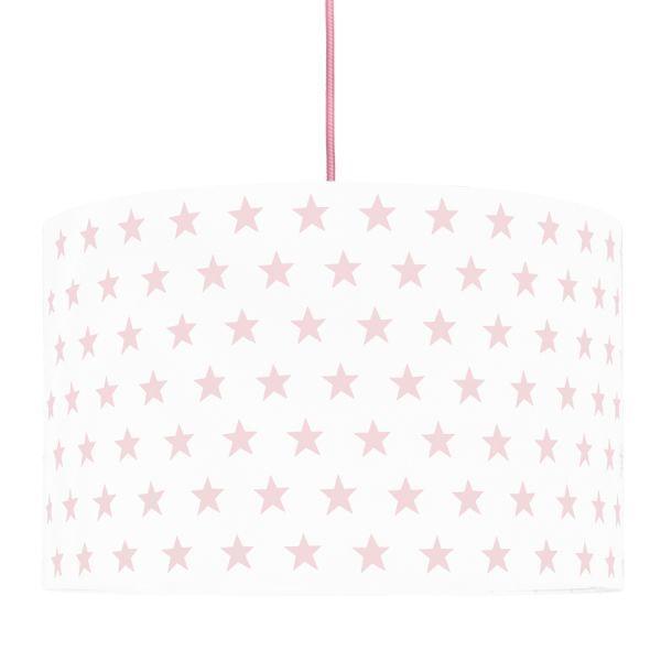 biała lampa wisząca w różowe gwiazdki pokój dziewczynki