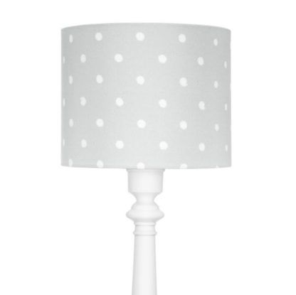 biała lampa dziecięca z szarym abażurem