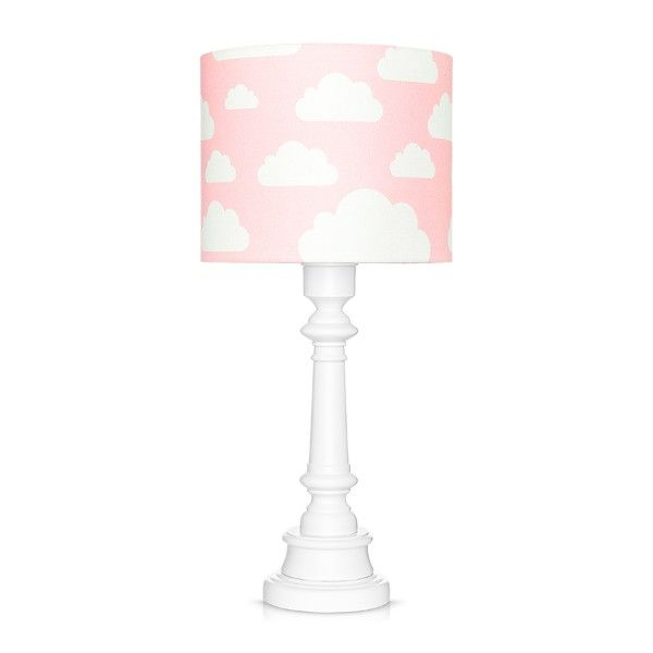Różowa lampa stołowa Chmurki - biała, drewniana podstawa
