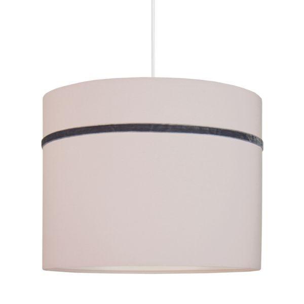 jasnoróżowa lampa wisząca z abażurem