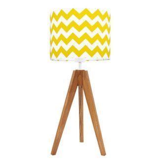 Brązowy trójnóg stołowy Chevron - biało-żółty abażur
