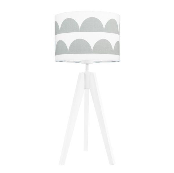 biała lampa stołowa dziecięca z abażurem