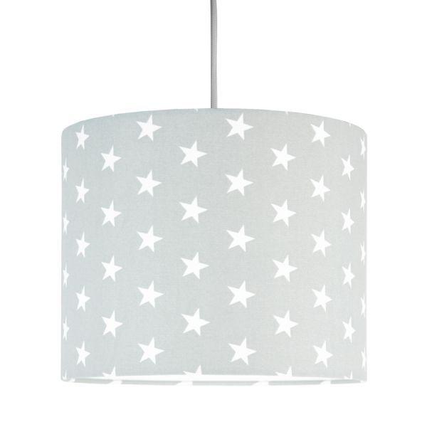 Szara lampa wisząca Young Mini - abażur w białe gwiazdki