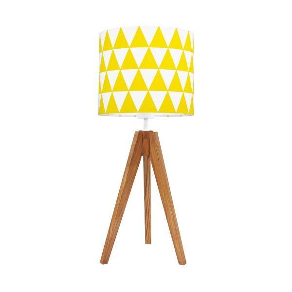 Skandynawska lampa stołowa Young - brązowy trójnóg, żółty abażur