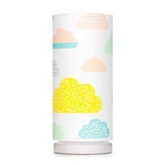 Lampka nocna Pastelowe Chmurki - biały abażur z bawełny