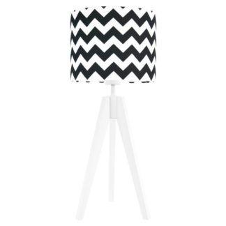 Drewniana lampa Chevron - biało-czarna