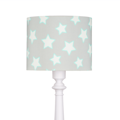 Biała lampa podłogowa Grey Stars - szary abażur w białe gwiazdki