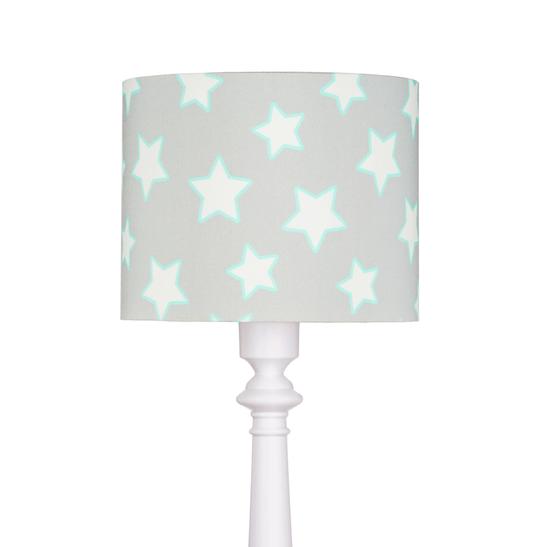 szara lampa podłogowa w białe gwiazdki