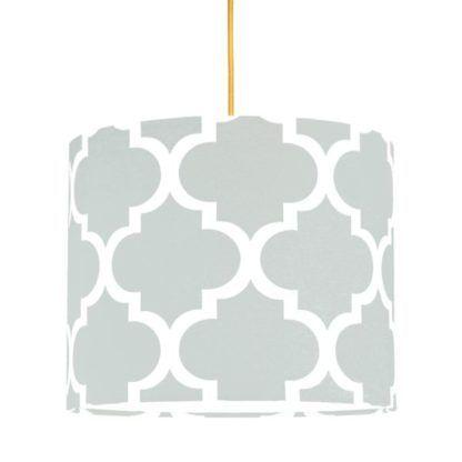 szara lampa wisząca z bawełnianym abażurem