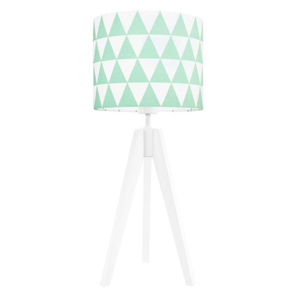 Jasna lampa stołowa Young - trójnóg w miętowe trójkąty