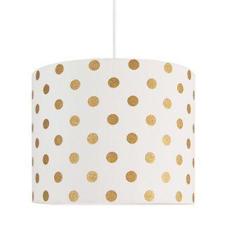 Lampa wisząca Young Mini - biały abażur w złote grochy