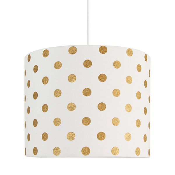 biała lampa wisząca w złote kropki