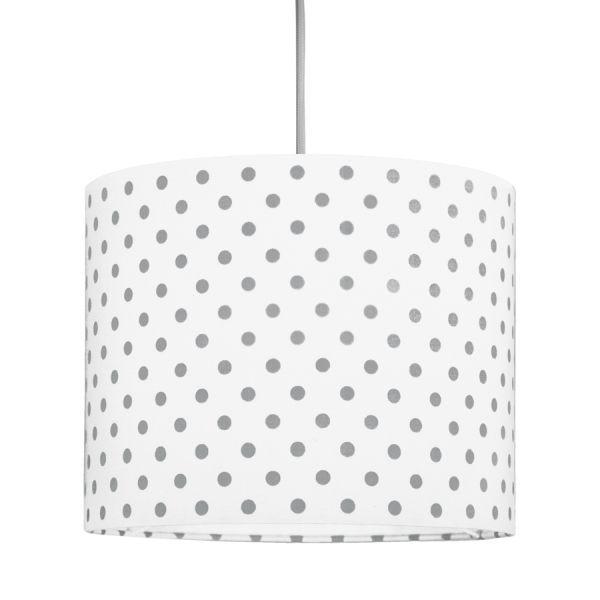 biała lampa w szare groszki