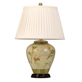 Klasyczna lampa stołowa Arum - ceramiczna z abażurem