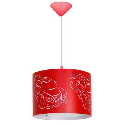 Czerwona lampa wisząca Car - pokój dziecięcy