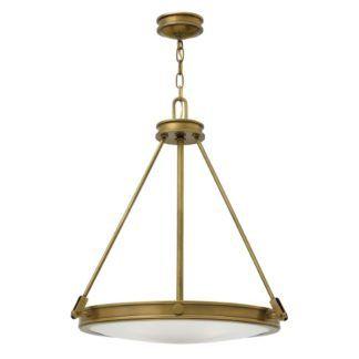 Efektowna lampa wisząca Collier - szklany klosz, złota oprawa