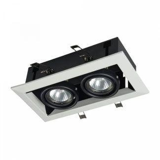 Podwójne oczko sufitowe Modern - biało-czarne, metalowe