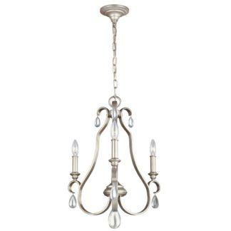 Srebrny żyrandol DeWitt - 3 ramiona, dekoracyjne kryształki