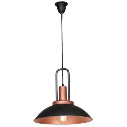 Metalowa lampa wisząca Ebra - czerń i miedź, industrialna