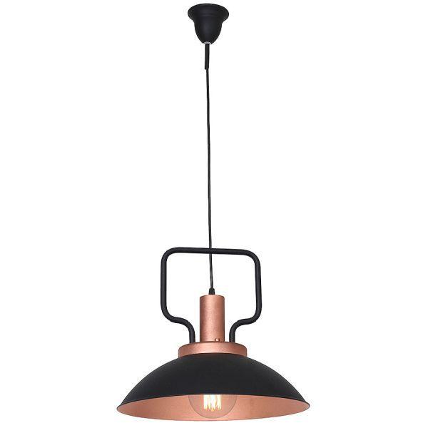 Industrialna lampa wiszaca Fepi - czerń-miedź