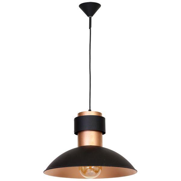 Metalowa lampa wisząca Fepi - czarń-miedź, szeroki klosz