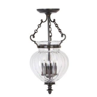 Klasyczna lampa wisząca Amfora - szklany klosz, brązowa oprawa