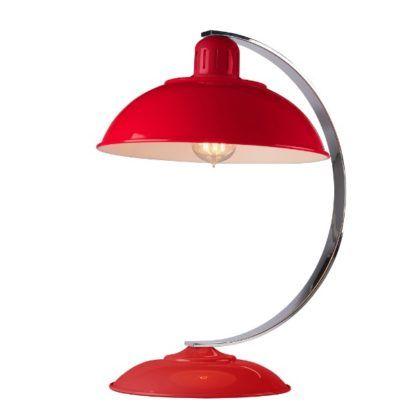 czerwona lampa stołowa retro