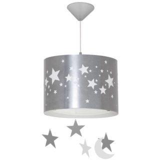Srebrna lampa wisząca Gwiazdy - w białe gwiazdki