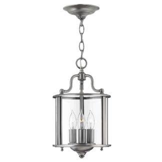 Szklana lampa wisząca Gentry - srebrna oprawa, klasyczna