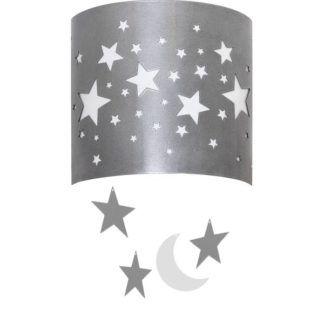 Kinkiet Gwiazdy - srebrno-biały, do pokoju dziecięcego