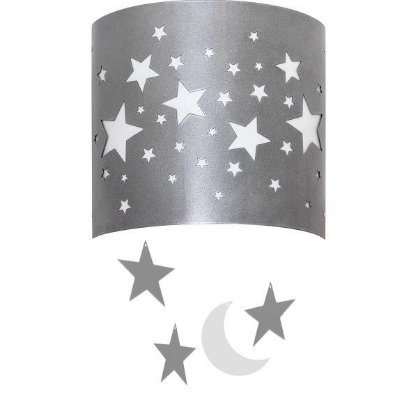 srebrny kinkiet w gwiazdki