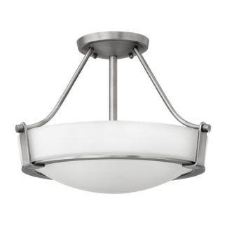 Klasyczna lampa sufitowa Hathaway - szklany klosz, srebrna