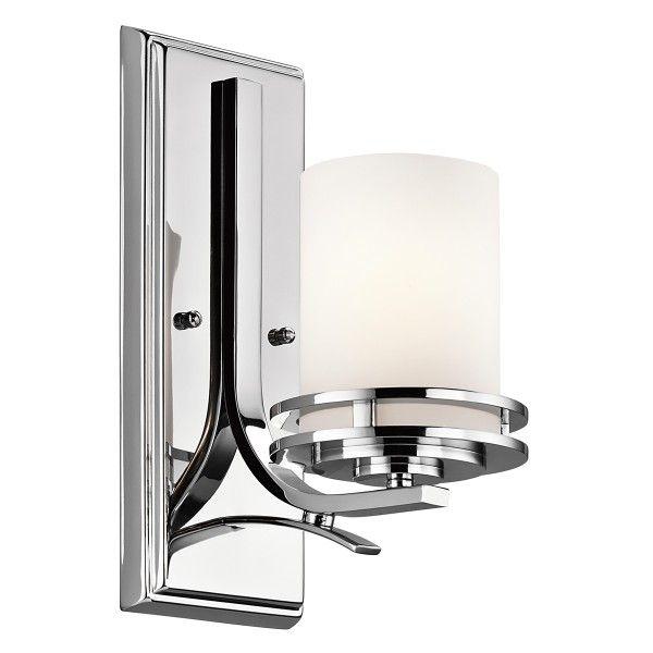srebrny kinkiet łazienkowy szklany klosz