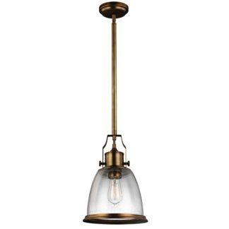 Lampa wisząca Hobson - szklany klosz, antyczny mosiądz