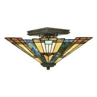 Witrażowa lampa sufitowa Inglenook - klasyczna