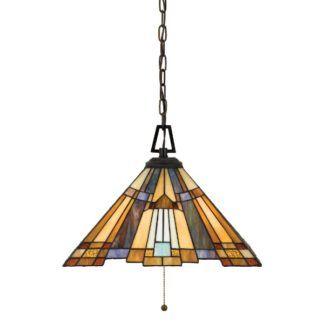 Klasyczna lampa wisząca Inglenook - witrażowy klosz