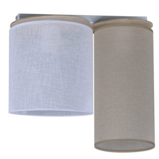 Lampa sufitowa Aida - dwa abażury, biały, beżowy