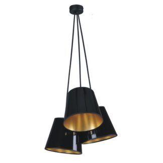 Efektowna lampa wisząca Pamela - 3 czarne klosze, nowoczesna
