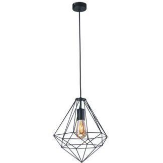 Stylowa lampa wisząca Marko - druciany klosz w kształcie diamentu