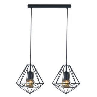Podwójna lampa wisząca Marko - czarne klosze z metalowych prętów