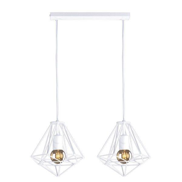 biała druciana lampa wisząca nad stół