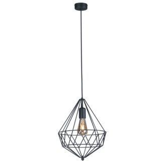 Druciana lampa wisząca Spark - czarny klosz w kształcie diamentu
