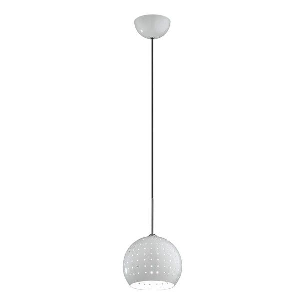 lampa wisząca biała kula z perforacją