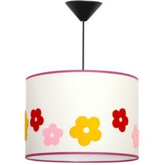 Biała lampa wisząca Kid - kolorowe kwiatki
