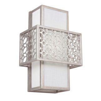 Dekoracyjny kinkiet Kenney - biały abażur, srebrna oprawa