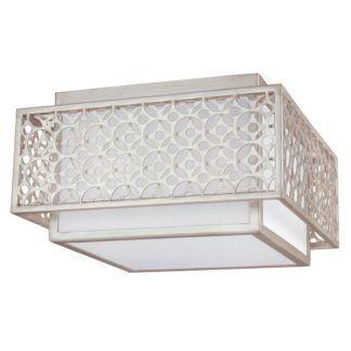 Elegancka lampa sufitowa Kenney - biały abażur, srebrna oprawa