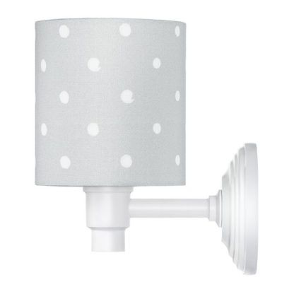 Biały kinkiet Lovely Dots - szary abażur w kropki