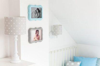 lampy do pokoju dziecka szare w białe kropki