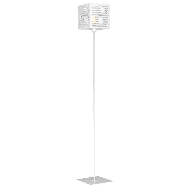Nowoczesna lampa podłogowa Lador - biały, metalowy klosz